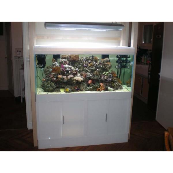 Aquarium eau de mer blanc laqu le grand bleu for Achat aquarium eau de mer
